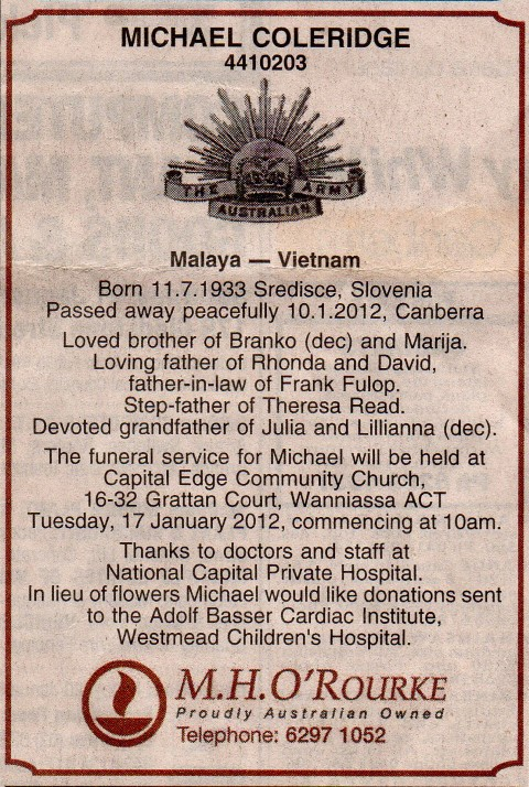 Mike Coleridge Funeral notice (Small)